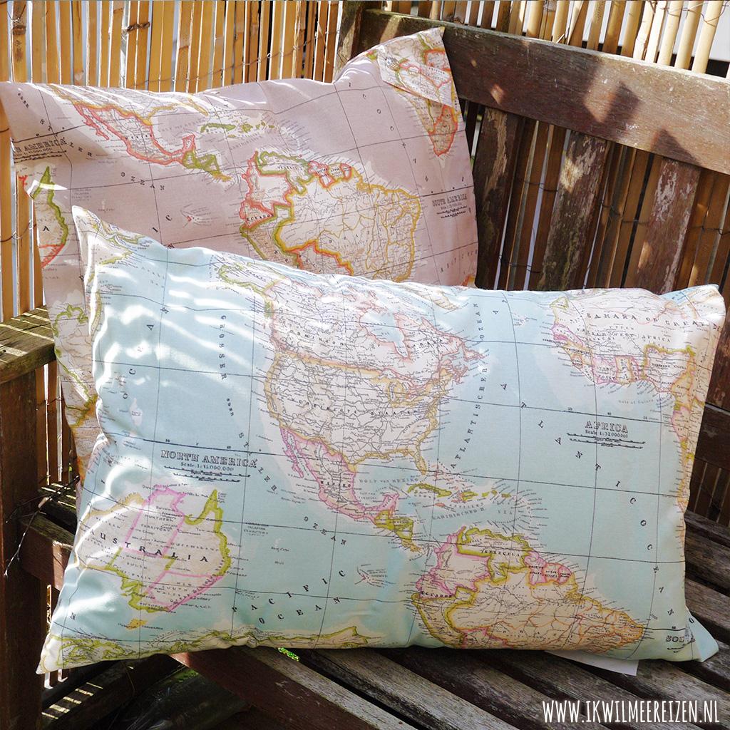 Wereldkaart kussenhoes.
