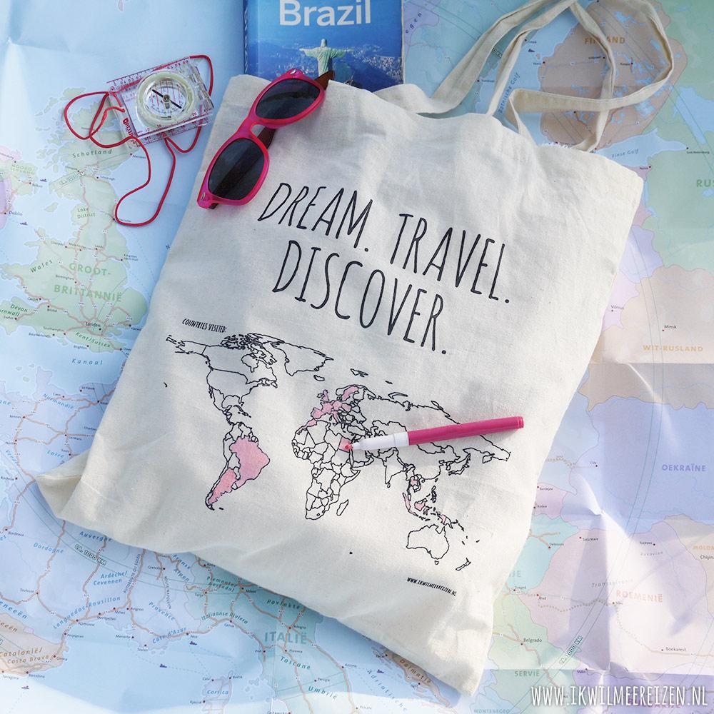Ongebruikt Cotton bag 'Colour your world' | Traveling Dutchies ZM-18