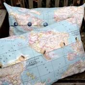 Kussenhoes wereldkaart met knopen