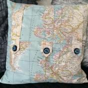 Vierkante kussenhoes wereldkaart met knopen