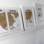 wereldkaart op plank muur