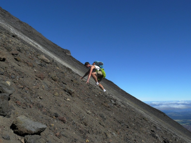 Climbing a volcano during the Tongariro Crossing in New Zealand