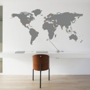 Wall sticker worldmap with pinpoints grey