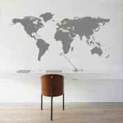 Wall sticker worldmap with pinpoints