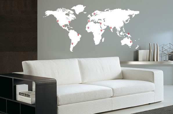 Wall Sticker Worldmap With Pinpoints White ... Part 75