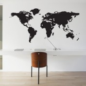 Wall sticker worldmap with pinpoints black