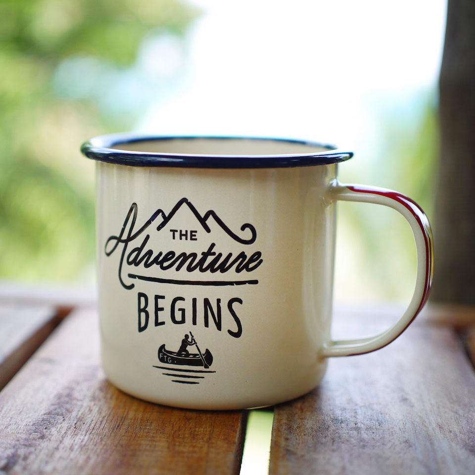 enamel mug 39 adventure begins 39. Black Bedroom Furniture Sets. Home Design Ideas