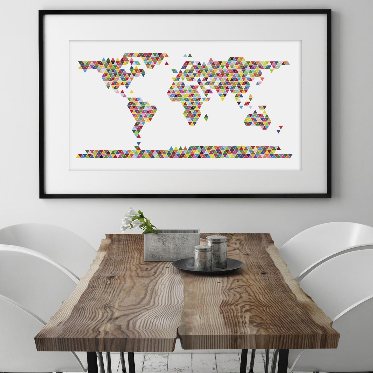 wall sticker world map xl world map triangle