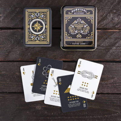 Waterproof playing cards with survival tips